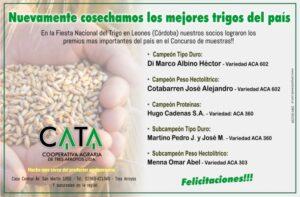 Socios de la CATA se destacaron en el Concurso Nacional de Trigo en Leones