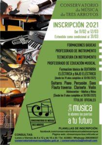 Conservatorio de Música: abierta la inscripción y matriculación para el Ciclo Lectivo 2021