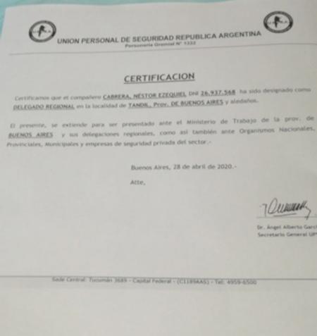 Aclaración de la Unión Personal de Seguridad República Argentina