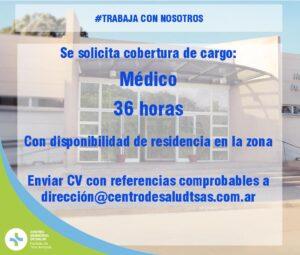 Cobertura de cargo médico en el Centro Municipal de Salud