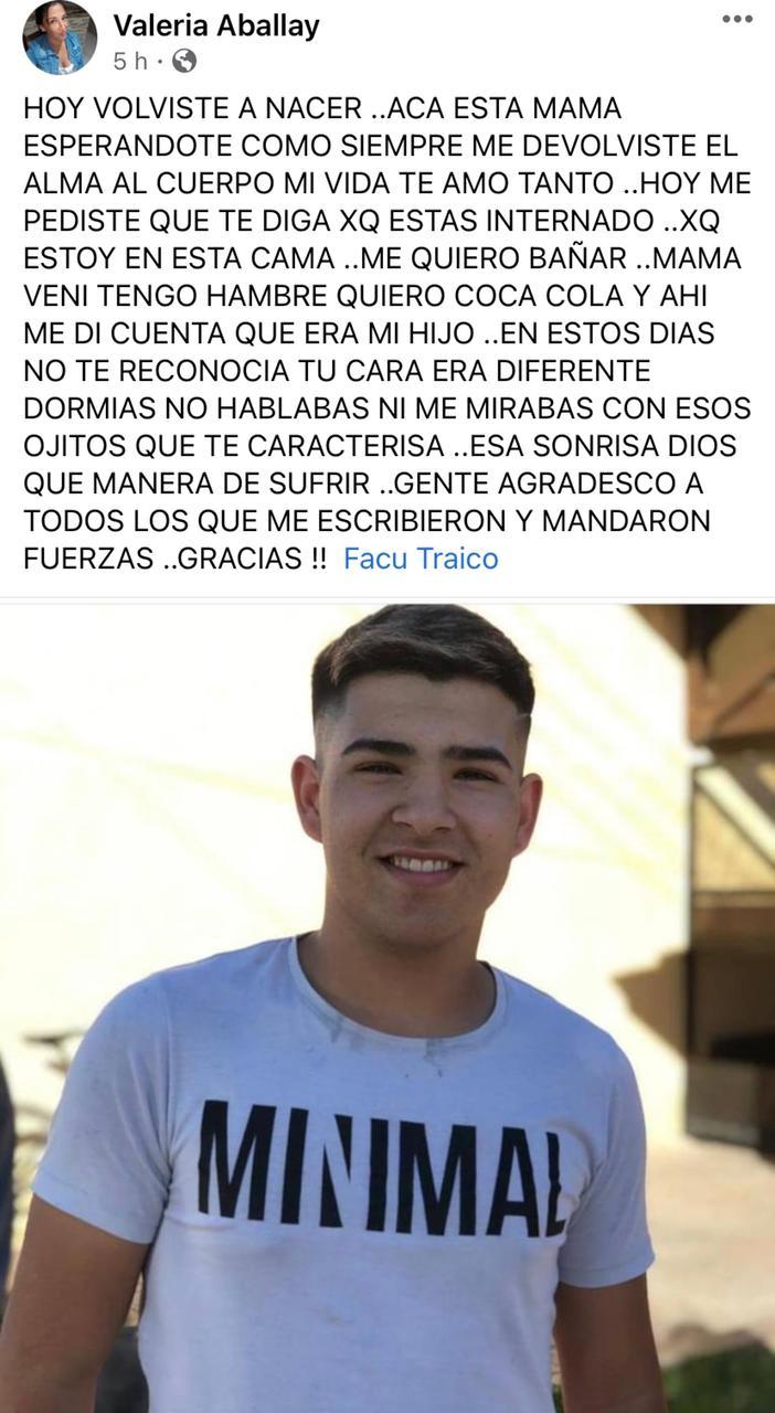 """""""Hoy volviste a nacer"""": conmovedora publicación de la mamá de Facundo Traico"""