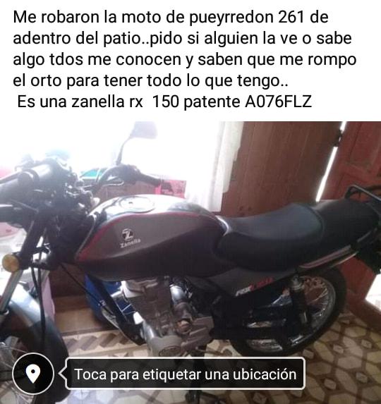 Robaron una moto en Pueyrredón 261