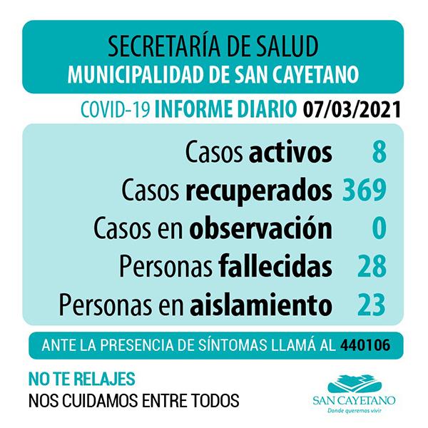 COVID en San Cayetano: 8 casos positivos y 23 personas en aislamiento