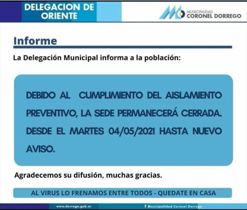 Oriente: Cierran la Delegación Municipal por dos casos positivos de Covid-19