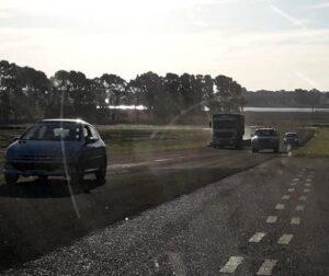 Giraron en el circuito del Moto Club para asentar la nueva carpeta asfáltica