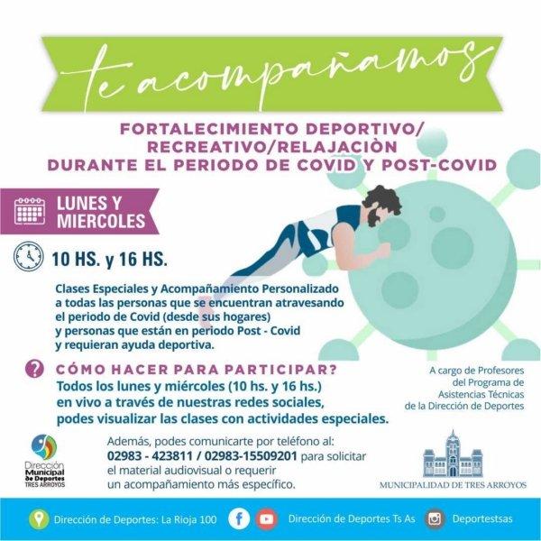 """""""Te Acompañamos"""": un proyecto de la Dirección de Deportes para colaborar con la recuperación del COVID 19"""