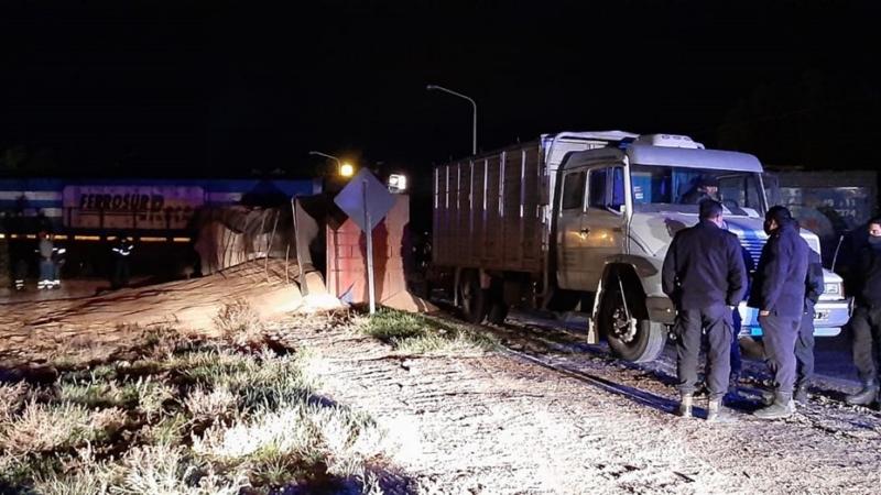 """Ileso de milagro: un tren chocó a un camión en la zona bahiense de """"El Guanaco"""""""