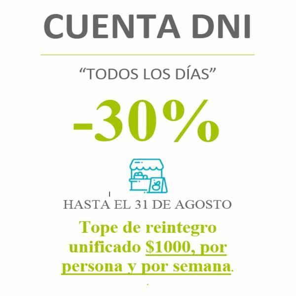 En la Cooperativa Agraria continúa el 30 % de descuento para quienes abonen con Cuenta DNI