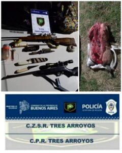 Dos cazadores furtivos aprehendidos por tenencia ilegal de armas y cazar un carpincho