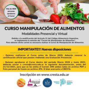 Curso de Manipulación de Alimentos: nuevas disposiciones