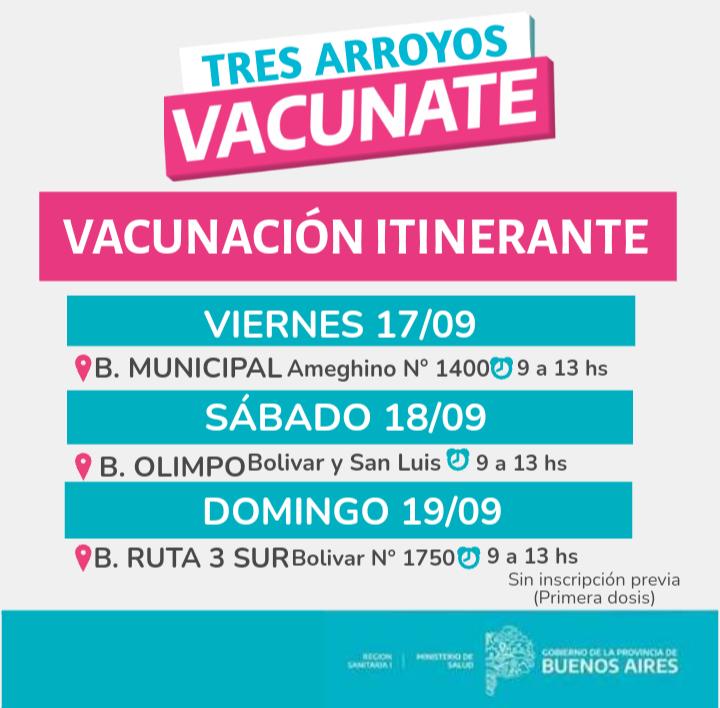 Vacunación: postas itinerantes en distintos barrios de la ciudad