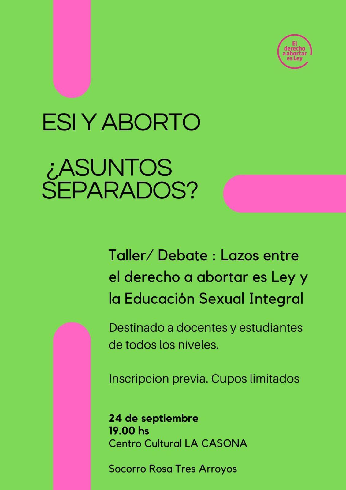 Aborto y Educación Sexual Integral: Socorro Rosa realizará taller para docentes