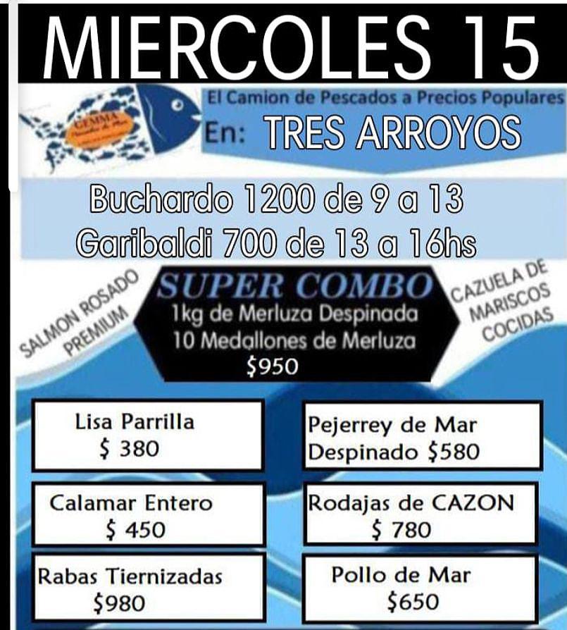 El camión de pescados a precios populares está en Tres Arroyos