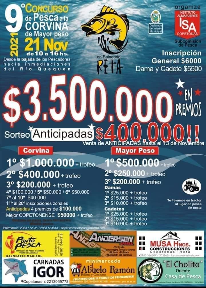 El 21 de noviembre será el concurso de pesca del Instituto Secundario Almafuerte de Copetonas