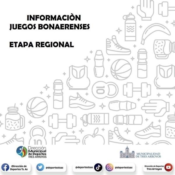 Cronograma de competencias etapa regional Juegos Bonaerenses