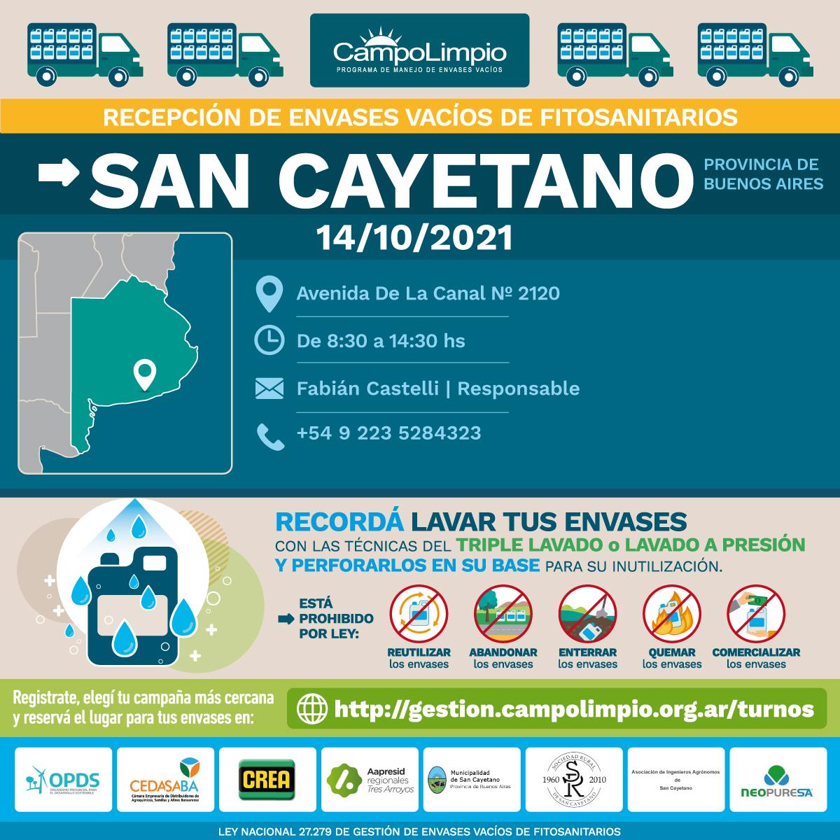 San Cayetano: Campaña de recepción de envases vacíos de fitosanitarios