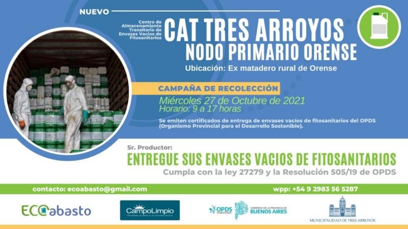 Mañana en Orense: Primera campaña de recolección de envases de agroquímicos vacíos