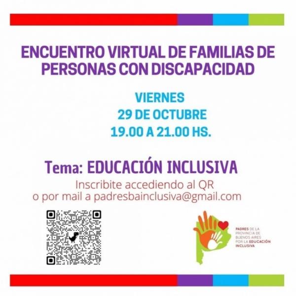 El viernes se realizará un encuentro virtual de familias de personas con discapacidad